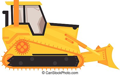 isolated bulldozer icon. flat cartoon style vector illustration.