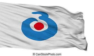 Isolated Bungoono city flag, prefecture Oita, Japan -...