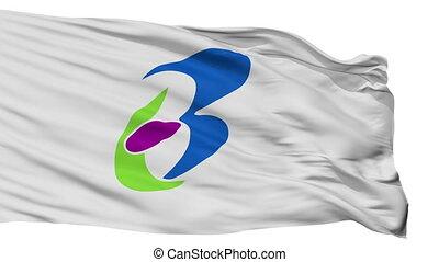 Isolated Bungotakada city flag, prefecture Oita, Japan -...