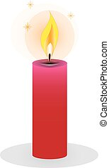 Isolated burning candles on white background. Vector...