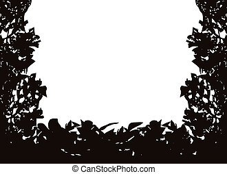 Isolated Bush Frame Vector - Isolated bush or jungle frame...
