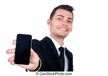 Business man showing phone