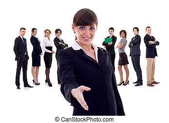 Isolated business team, focus on woman with handshake gesture