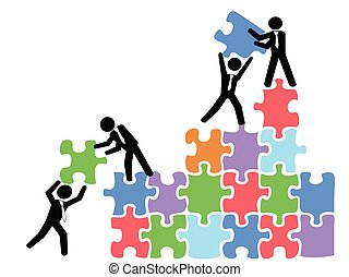 business teams work with jigsaw puzzles