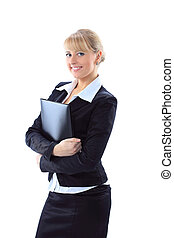 isolated business woman holding