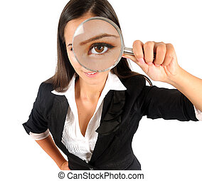 Isolated young business woman with magnifier