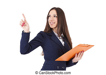 isolated business woman pointing
