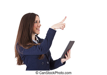 isolated business woman with tablet