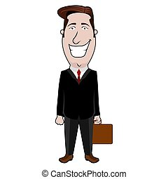 Isolated businessman cartoon with a briefcase
