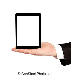 isolated businessman hand holding a tablet with isolated screen