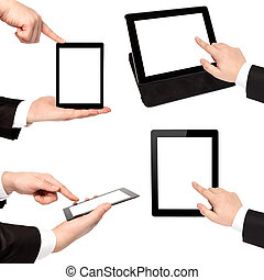 isolated businessman hand holding touch tablet computer