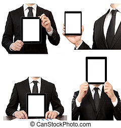 Isolated businessman holding a touch tablet computer