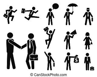 businessman pictogram icons set