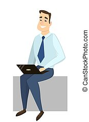 Isolated businessman with laptop.
