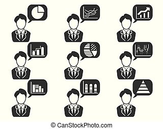 businessman with statistics symbol in speech bubble icons set