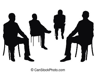 isolated businessmen - some people on the chair on the white...