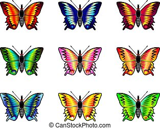 Isolated butterflies set on white background