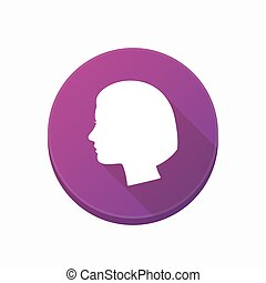 Isolated button with a female head