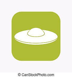 Isolated button with  a flying saucer UFO