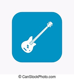 Isolated button with a four string electric bass guitar