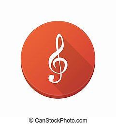 Isolated button with a g clef - Illustration of an isolated...