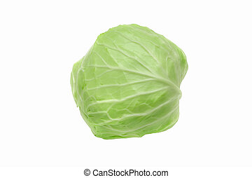 Isolated cabbage on white background with clipping path