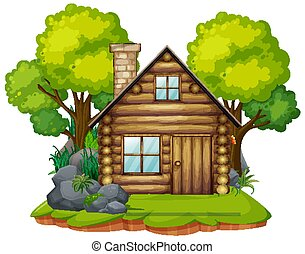 Isolated cabin in the wood