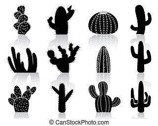 cactus Silhouettes - isolated cactus Silhouettes from white...
