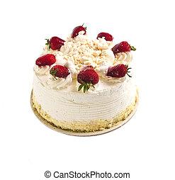 Isolated cake - Strawberry meringue cake isolated on white...