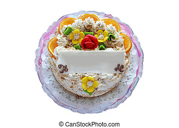 isolated cake with blank marzipan