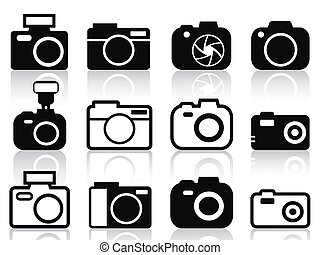 isolated camera icons set from white background
