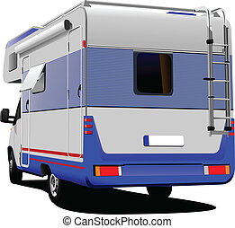 Isolated camper on white backgroun