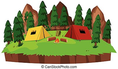 Isolated campsite on white background