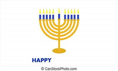 Isolated candlestick for hanukkah, art video illustration.