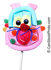 Isolated Candy Face on a stick