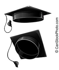 isolated cap of university student - black cap of university...