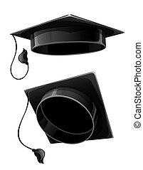 isolated cap of university student - black cap of university...