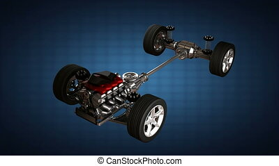 isolated car chassis with engine.