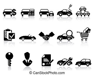 isolated car dealership icons set from white background