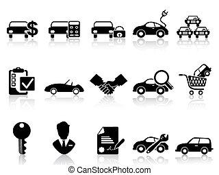 car dealership icons set
