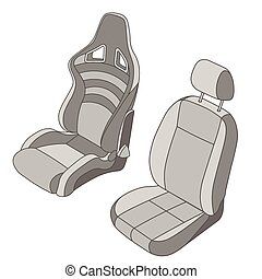 Isolated Car Seat set - Isolated Car Seat vector set
