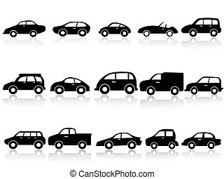 car silhouette icons - isolated car silhouette icons from ...