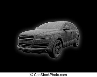 Isolated car wire front view - wire car on a black ...