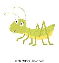 isolated., carino, bianco, grasshopper., fondo., cartone animato, character., design., appartamento