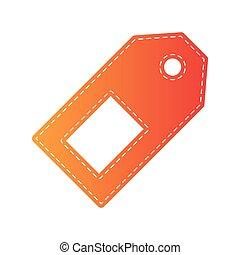 isolated., cartellino del prezzo, applique, arancia, segno.