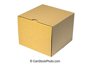 isolated carton old closed box