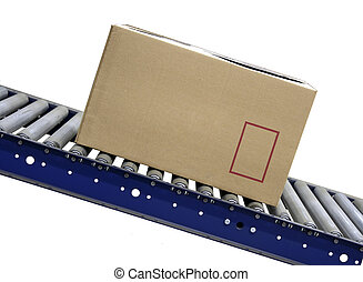 Isolated Carton on conveyor rollers on white background