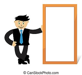 Isolated cartoon businessman. Vector illustration on white background with globe.