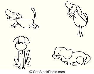 cartoon doodle dogs outline