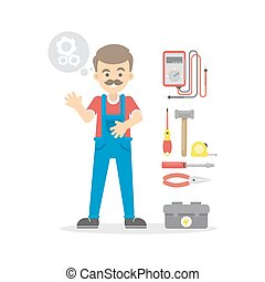Isolated cartoon electrician.
